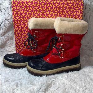 Tory Burch duck boots rain Royal Navy Tory red